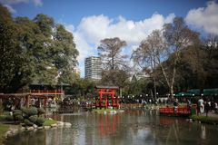 Japanese Garden in Buenos Aires Argentina. BUENOS AIRES, ARGENTINA - AUGUST 19: Jardin Japones Japanese Garden in Buenos Aires. People walking on the festival royalty free stock photos