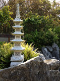 Japanese garden detail. Temple statue on rocks in small Japanese garden Royalty Free Stock Image