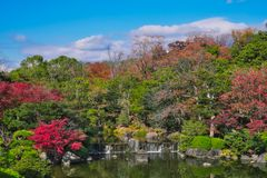 Japanese garden of Expo`70 commemorative park. Osaka, Japan - November 17, 2018: Japanese garden of Expo`70 commemorative park in autumn, shot in Osaka, Japan royalty free stock photography