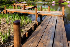 Japanese Garden Foot Bridge. This image of a Japanese garden foot bridge was captured at Shaw Botanical Gardens in St. Louis, Missouri stock image