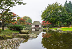 Japanese Garden in Hamburg. Japanese garden in autumn colors Stock Photo
