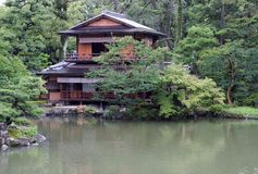 Japanese Garden and House Royalty Free Stock Photo