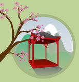 Japanese garden house Royalty Free Stock Images