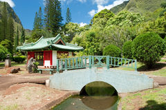 Japanese garden in Iao Valley State Park on Maui Hawaii Stock Photos
