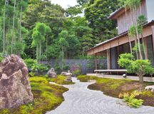 Japanese garden inside Hase-dera Temple Stock Photos