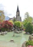 Japanese garden Interlaken. Garden of Friendship. Small garden found on Höheweg next to the Hotel Interlaken. The Garden of Friendship is the first Japanese Stock Photos