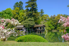 Japanese garden in Kanazawa, Japan. Pond and tea house in Kenrokuen, a japanese garden in Kanazawa, Ishikawa prefecture, Japan royalty free stock image