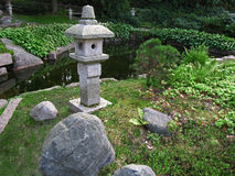 Japanese garden in Kotka. Japanese garden with stone lanterns in botanical park in Kotka, Finland Royalty Free Stock Image