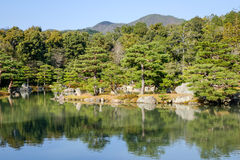Japanese garden with the lake in Kyoto, Japan Royalty Free Stock Photography