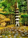 Japanese Zen Lake Botanical Garden, Feng Shuei. Japanese Garden and lake in Portland, Oregon. Stone lantern and water basin. Zen Feng Shuei Royalty Free Stock Photo