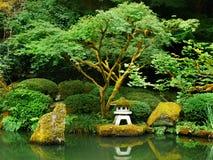 Japanese Zen Lake, Botanical Garden, Feng Shuei. Japanese Garden and lake in Portland, Oregon. Stone lantern and waterfall. Zen Feng Shuei Stock Image
