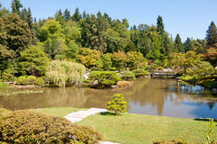 Japanese garden landscape with pond and bridge Stock Photo