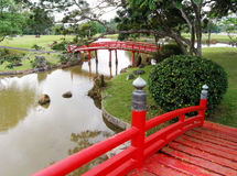 Japanese garden landscaping. An image showing a garden with some traditional japanese style architecture and landscaping - red wooden graceful arch bridges over Stock Image