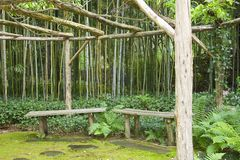Japanese Garden Meditation benches. On 4 acres of peaceful land, a beautiful Japanese strolling garden has a meditation area surrounded by a bamboo grove. Part Stock Photography