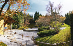 Japanese Garden of Merging Water in Berlin, Germany. Panorama Royalty Free Stock Photography