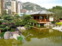 Japanese garden of Monaco. Japanese garden in Monaco near Mediterranean sea Royalty Free Stock Image