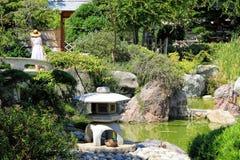 Japanese garden of Monaco. With a bridge and a duck Royalty Free Stock Photos