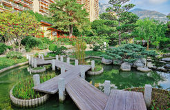 Japanese garden in Monte Carlo Royalty Free Stock Photography