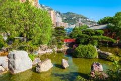 Japanese Garden in Monte Carlo, Monaco. Japanese Garden or Jardin Japonais is a municipal public park in Monte Carlo in Monaco stock photo