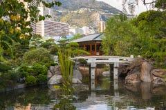 Japanese garden in Monte Carlo stock photography