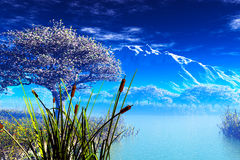 Japanese Garden and the Mountain 3D render Royalty Free Stock Photo