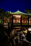 Japanese garden by night. Traditional house and waterfall at Japanese garden by night Stock Photography