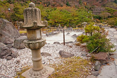 Japanese garden in the onsen (hot springs) Stock Photography