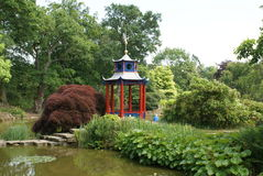 Japanese garden with a pagoda at a lakeside Stock Photo