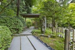 Japanese Garden Path. Garden Path with Rock Sculpture at Portland Japanese Garden royalty free stock images