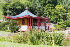 Japanese garden pavilion Royalty Free Stock Image