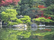 Japanese Garden and Pond. Gardens and pond on the grounds of the Kyoto Imperial Palace, Japan Royalty Free Stock Photos