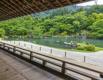 Japanese garden with a pond, Arashiyama district, Kyoto, Japan Stock Photography