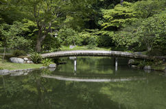 Japanese garden with pond and bridge. Japanese garden with lush greenery. Nitobe Memorial Garden, Vancouver, Canada Royalty Free Stock Images