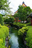 Japanese garden pond. Small river, pond surrounded by green shrubs in Japanese garden with Shinto shrine on the background. Senso-ji or Asakusa Kannon Temple in Royalty Free Stock Photos
