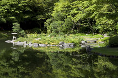 Japanese garden with pond and trees royalty free stock images