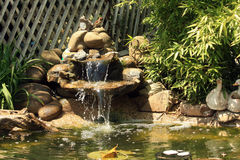 Japanese garden pond with waterfall and fishes. Water lilies, bulrush and lawn nearby Stock Images