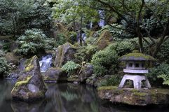 Japanese garden in Portland Oregon Royalty Free Stock Images
