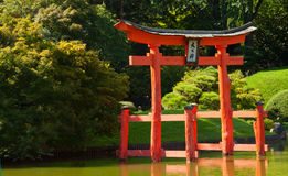 Japanese Garden with a red Zen Tower. Japanese Garden and pond with a red Zen Tower Stock Photography