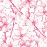 Japanese garden 20. Seamless floral pattern Royalty Free Stock Photos