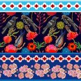 Japanese garden. Seamless oriental pattern with Victorian motifs. Stock Photography