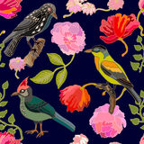 Japanese garden. Seamless oriental pattern with Victorian motifs. Royalty Free Stock Image