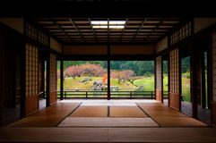 Japanese garden seen through tatami room. Stock Images
