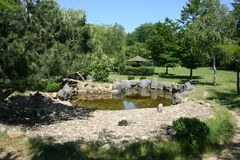 Japanese Garden with a small lake Stock Images