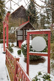 Japanese garden during snowfall in winter Royalty Free Stock Images