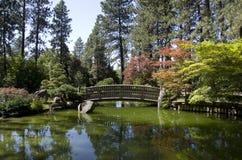 Japanese garden Spokane. Beautiful Japanese with nice shadows and trees Royalty Free Stock Image