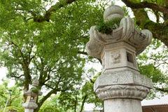 Japanese garden and stone lantern Stock Images