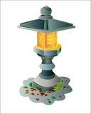 Japanese garden stone lantern. Stock Photo
