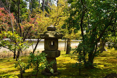 Japanese garden and stone lantern, Kyoto Japan Royalty Free Stock Photo