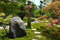 Japanese garden and stone lantern, Kyoto Japan Royalty Free Stock Images