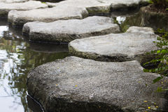 Japanese garden stone pathway Royalty Free Stock Photos
